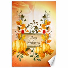 Happy Thanksgiving With Pumpkin Canvas 24  X 36  by FantasyWorld7