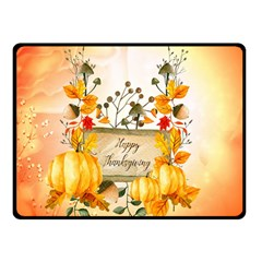 Happy Thanksgiving With Pumpkin Double Sided Fleece Blanket (small)  by FantasyWorld7