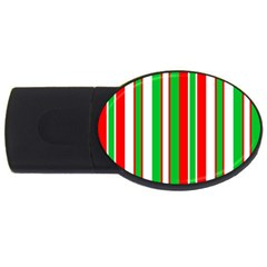 Christmas Holiday Stripes Red Usb Flash Drive Oval (2 Gb) by Celenk