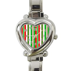 Christmas Holiday Stripes Red Heart Italian Charm Watch by Celenk