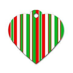 Christmas Holiday Stripes Red Dog Tag Heart (two Sides)