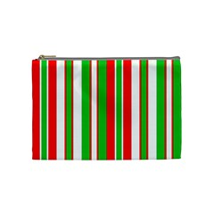 Christmas Holiday Stripes Red Cosmetic Bag (medium)  by Celenk