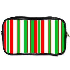Christmas Holiday Stripes Red Toiletries Bags 2 Side by Celenk