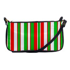 Christmas Holiday Stripes Red Shoulder Clutch Bags by Celenk