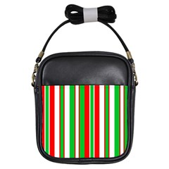 Christmas Holiday Stripes Red Girls Sling Bags by Celenk