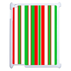 Christmas Holiday Stripes Red Apple Ipad 2 Case (white) by Celenk