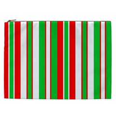Christmas Holiday Stripes Red Cosmetic Bag (xxl)  by Celenk