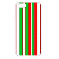 Christmas Holiday Stripes Red Apple Iphone 5 Seamless Case (white) by Celenk