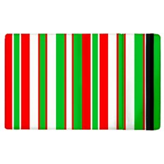 Christmas Holiday Stripes Red Apple Ipad 3/4 Flip Case by Celenk