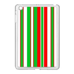 Christmas Holiday Stripes Red Apple Ipad Mini Case (white) by Celenk