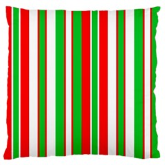 Christmas Holiday Stripes Red Large Flano Cushion Case (two Sides) by Celenk
