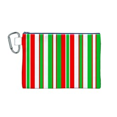 Christmas Holiday Stripes Red Canvas Cosmetic Bag (m) by Celenk