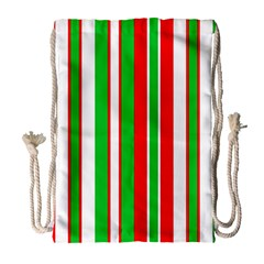 Christmas Holiday Stripes Red Drawstring Bag (large) by Celenk