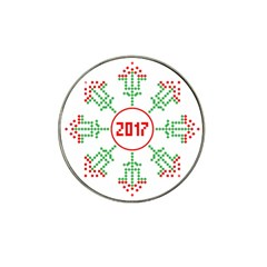 Snowflake Graphics Date Year Hat Clip Ball Marker (4 Pack) by Celenk