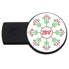 Snowflake Graphics Date Year Usb Flash Drive Round (4 Gb)