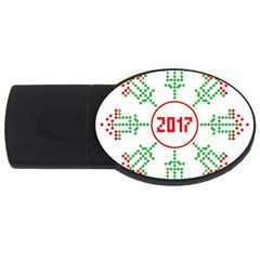 Snowflake Graphics Date Year Usb Flash Drive Oval (4 Gb) by Celenk