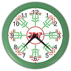 Snowflake Graphics Date Year Color Wall Clocks by Celenk