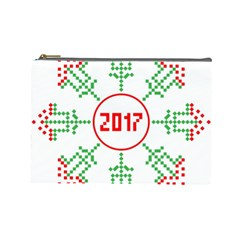 Snowflake Graphics Date Year Cosmetic Bag (large)  by Celenk