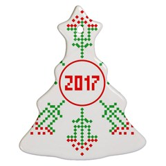 Snowflake Graphics Date Year Christmas Tree Ornament (two Sides) by Celenk