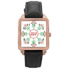 Snowflake Graphics Date Year Rose Gold Leather Watch  by Celenk