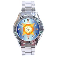 Star Pattern Background Stainless Steel Analogue Watch by Celenk