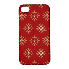 Pattern Background Holiday Apple Iphone 4/4s Hardshell Case With Stand by Celenk