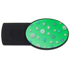 Snowflakes Winter Christmas Overlay Usb Flash Drive Oval (2 Gb) by Celenk