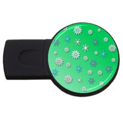 Snowflakes Winter Christmas Overlay Usb Flash Drive Round (4 Gb) by Celenk