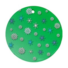 Snowflakes Winter Christmas Overlay Round Ornament (two Sides) by Celenk