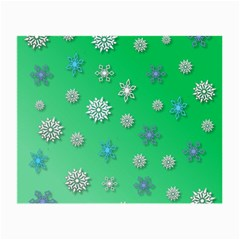 Snowflakes Winter Christmas Overlay Small Glasses Cloth (2 Side) by Celenk