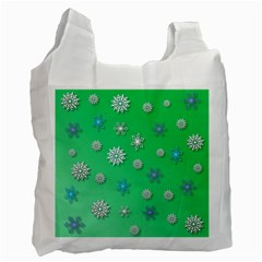 Snowflakes Winter Christmas Overlay Recycle Bag (one Side) by Celenk