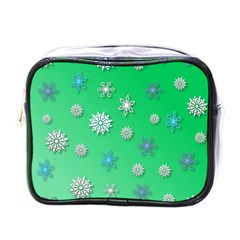 Snowflakes Winter Christmas Overlay Mini Toiletries Bags by Celenk