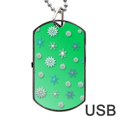 Snowflakes Winter Christmas Overlay Dog Tag Usb Flash (one Side) by Celenk