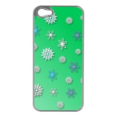 Snowflakes Winter Christmas Overlay Apple Iphone 5 Case (silver) by Celenk