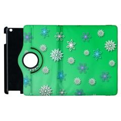 Snowflakes Winter Christmas Overlay Apple Ipad 2 Flip 360 Case by Celenk