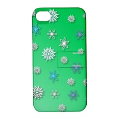 Snowflakes Winter Christmas Overlay Apple Iphone 4/4s Hardshell Case With Stand by Celenk