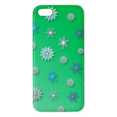 Snowflakes Winter Christmas Overlay Apple Iphone 5 Premium Hardshell Case by Celenk
