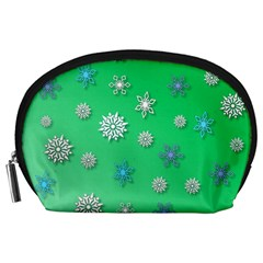 Snowflakes Winter Christmas Overlay Accessory Pouches (large)  by Celenk