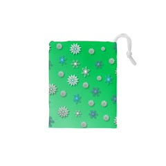 Snowflakes Winter Christmas Overlay Drawstring Pouches (xs)  by Celenk