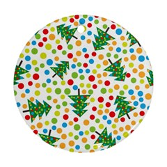 Pattern Circle Multi Color Round Ornament (two Sides) by Celenk