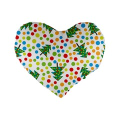 Pattern Circle Multi Color Standard 16  Premium Flano Heart Shape Cushions by Celenk