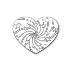 Star Christmas Pattern Texture Rubber Coaster (heart)