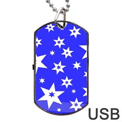 Star Background Pattern Advent Dog Tag Usb Flash (two Sides) by Celenk