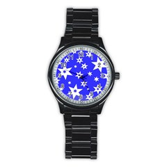 Star Background Pattern Advent Stainless Steel Round Watch by Celenk