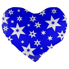 Star Background Pattern Advent Large 19  Premium Flano Heart Shape Cushions by Celenk