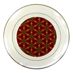 Textured Background Christmas Pattern Porcelain Plates by Celenk