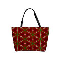 Textured Background Christmas Pattern Shoulder Handbags by Celenk