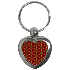 Textured Background Christmas Pattern Key Chains (heart)  by Celenk