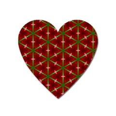 Textured Background Christmas Pattern Heart Magnet by Celenk