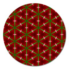 Textured Background Christmas Pattern Magnet 5  (round) by Celenk